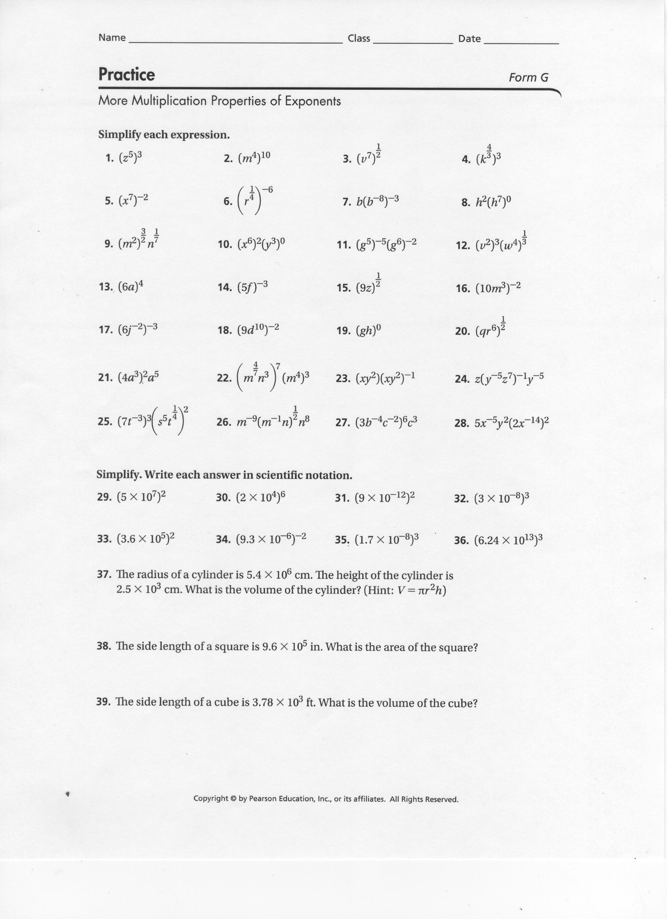 More Properties Of Exponents Worksheet Davezan – Multiplication Properties of Exponents Worksheet